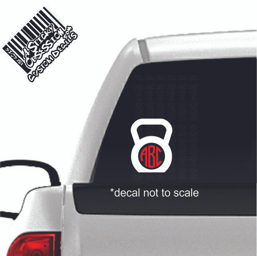 Kettlebell Round Monogram Custom 2 coolored Decal on truck