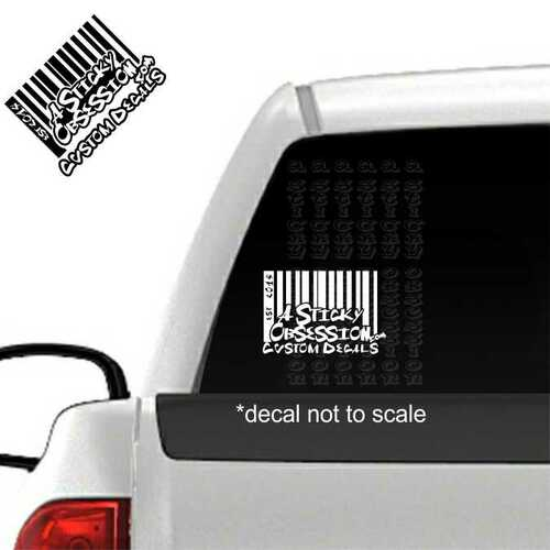 A Sticky Obsession barcode logo on truck