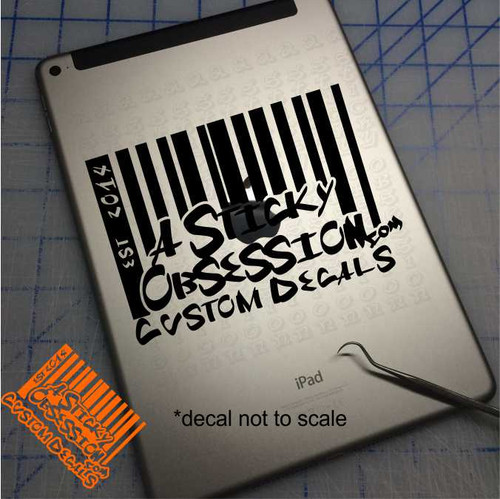 A Sticky Obsession barcode logo on iPad