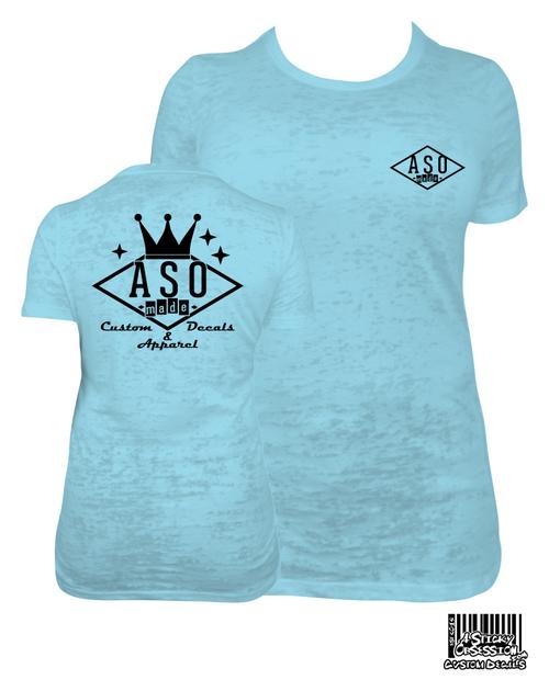 ASO Made Bowling Logo Womens Tahiti Blue Burnout T-Shirt