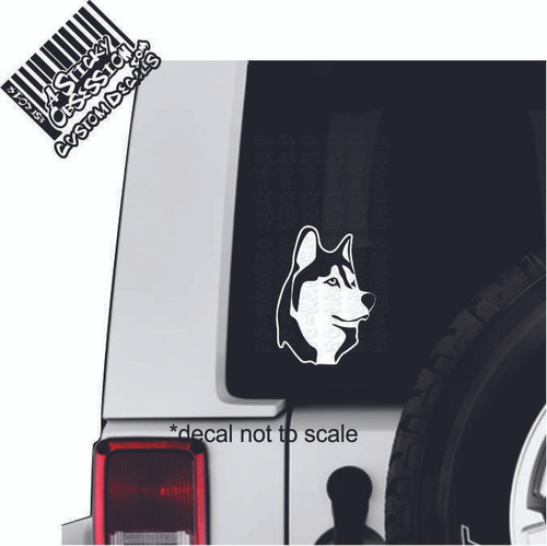 Husky dog window decal on Jeep