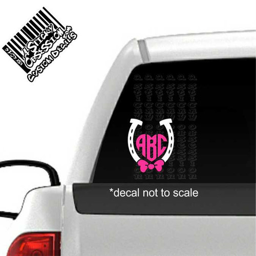 Horseshoe Bow Heart Monogram Custom Decal Sticker on truck