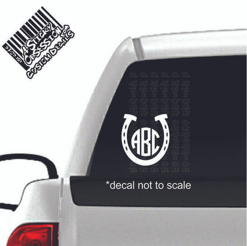 Horseshoe Circle Monogram Custom Decal Sticker on truck