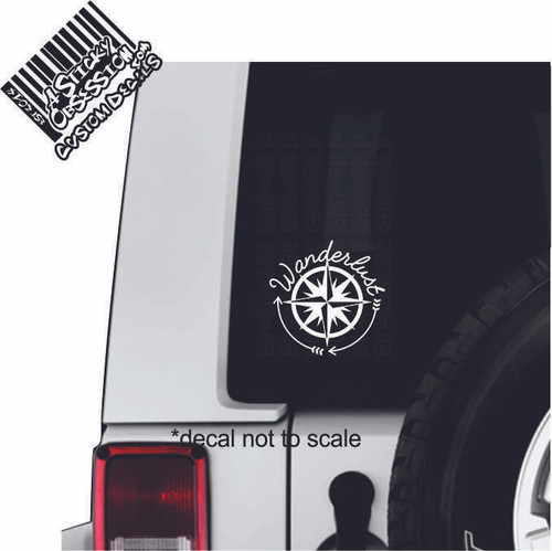 Wanderlust Compass Rose Arrow decal on Jeep