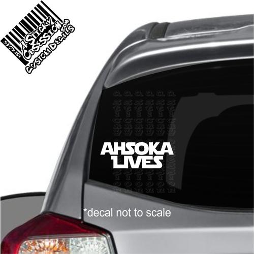 Ahsoka Lives text on car