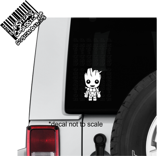 Toddler Groot Smiling Decal Sticker on Jeep