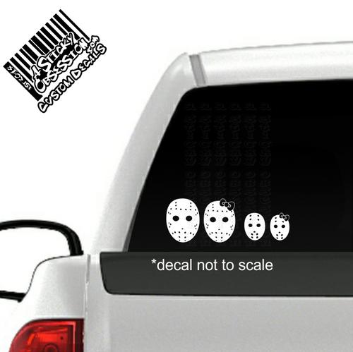 Jason Horror Movie Hockey Mask Family Decal Sticker on truck