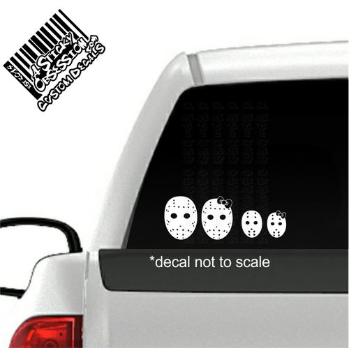 Jason Horror Movie Hockey Mask Family Decal Sticker on truck