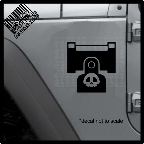 Bullet bill shooter decal on jeep