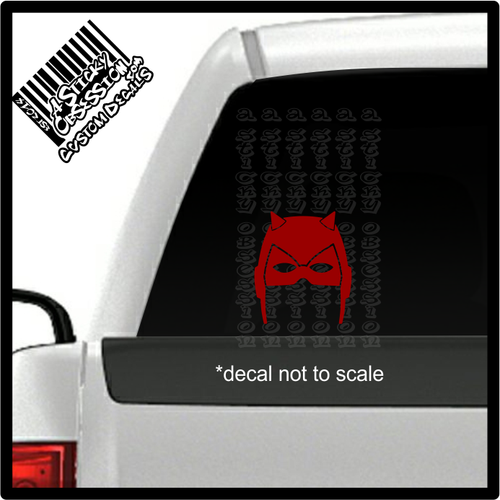 Daredevil mask decal on truck