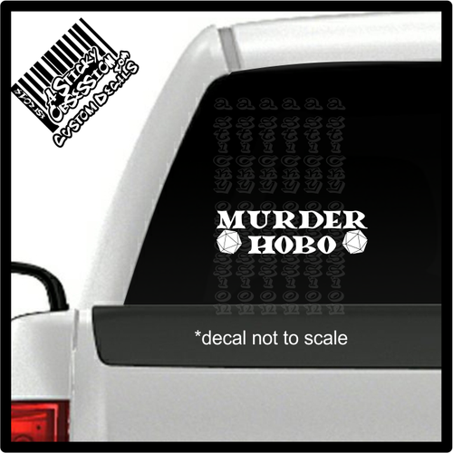 Murder Hobo D20 decal on truck