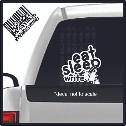 eat sleep write decal on truck