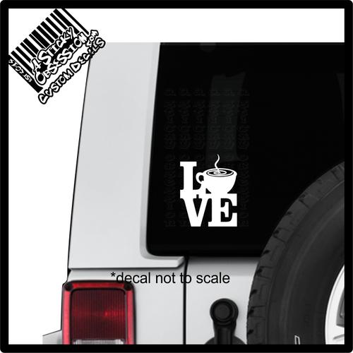 Love Coffee Tea Decal sticker on Jeep
