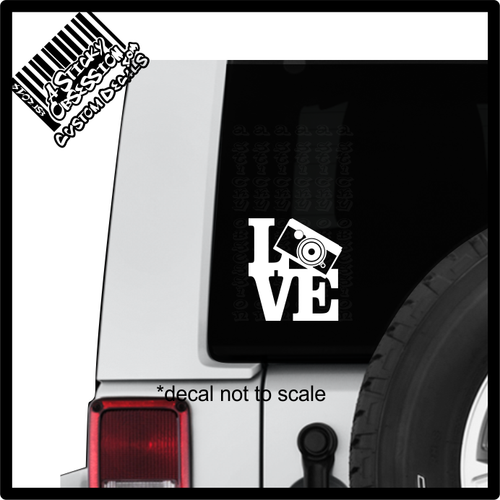 Love Camera Photography Shoot Decal sticker on Jeep