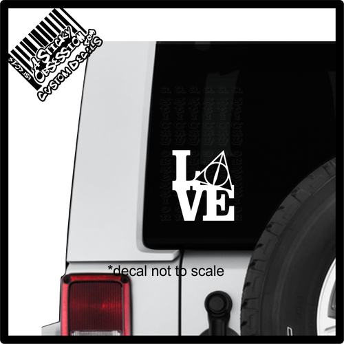 Love Deathly Hallows Harry Potter Decal sticker on Jeep