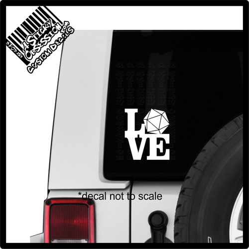 Love D20 Decal sticker on Jeep