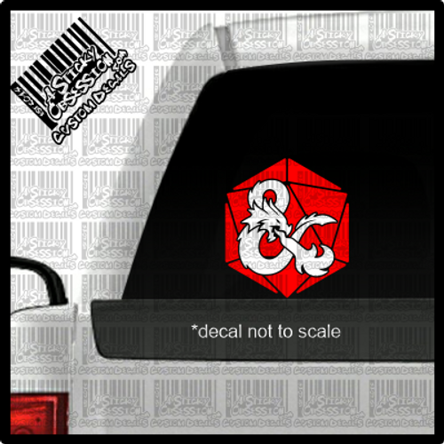 2 colored DND D20 decal on truck