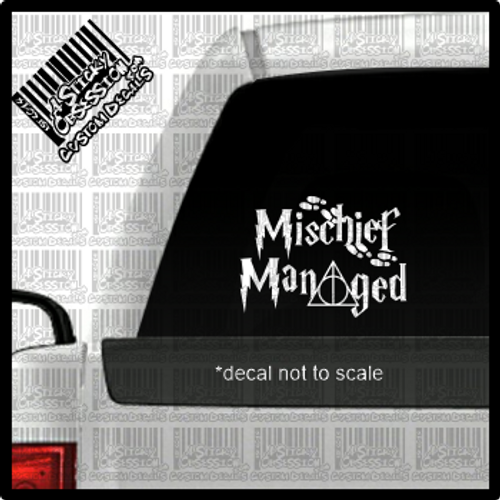 Mischief Managed decal on truck