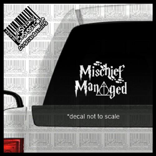 Mischief Managed decal on truck