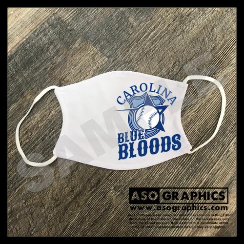 Carolina Blue Bloods full logo custom face mask