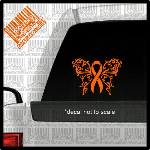 MS Multiple Sclerosis Orange Butterfly Ribbon decal on truck