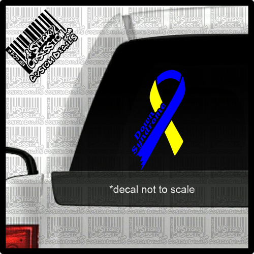 Down Syndrome Blue Yellow Ribbon Custom Decal with text on truck