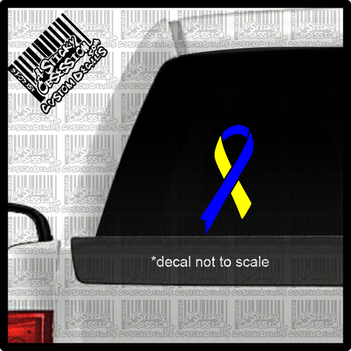 Down Syndrome Blue Yellow Ribbon decal on truck