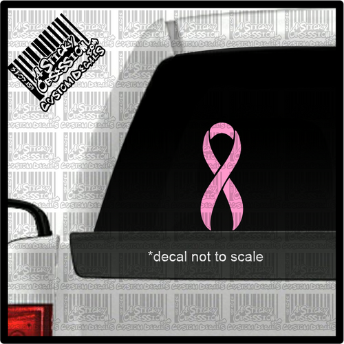 pink breast cancer ribbon on truck