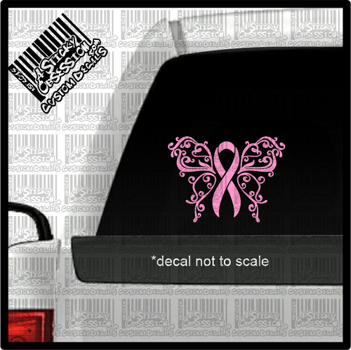 breast cancer pink elegant butterfly decal on truck