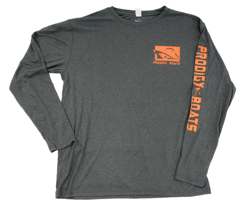 Prodigy Xtreme-Tek Long Sleeve Shirt - Heather Black/Orange Ink