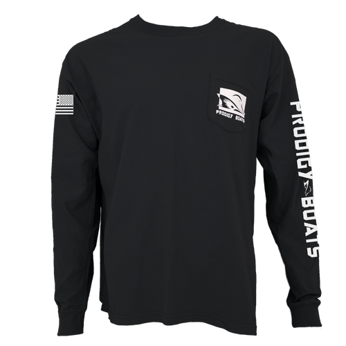 Prodigy Classic Long Sleeve Pocket Tee - Black/White Ink