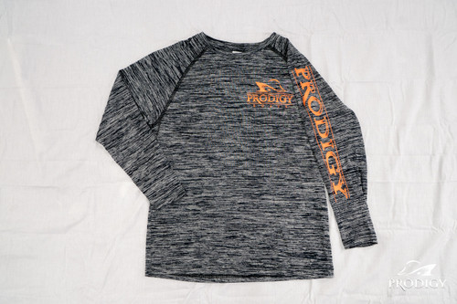 Prodigy Youth Dry-Tek Long Sleeve Shirt - Black/Orange Ink