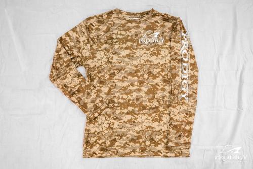Prodigy Youth Xtreme-Tek Long Sleeve Shirt - Digital Camo - Desert/White Ink