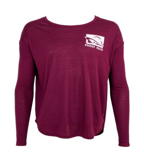 Prodigy Ladies Long Sleeve Tee - Maroon/White Ink