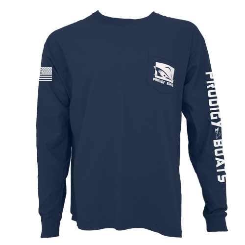 Prodigy Classic Long Sleeve Pocket Tee - Navy/White Ink