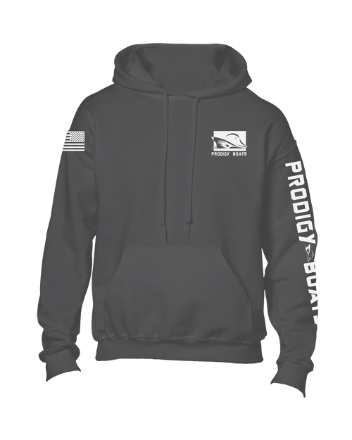 Polyester Hoodie - Charcoal/White