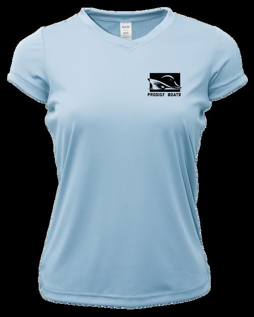 Ladies Short Sleeve Dry-Tek - Light Blue/Black