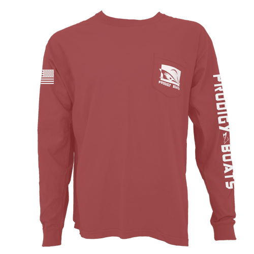 Long Sleeve Pocket Tee - Brick/White - Limited Edition