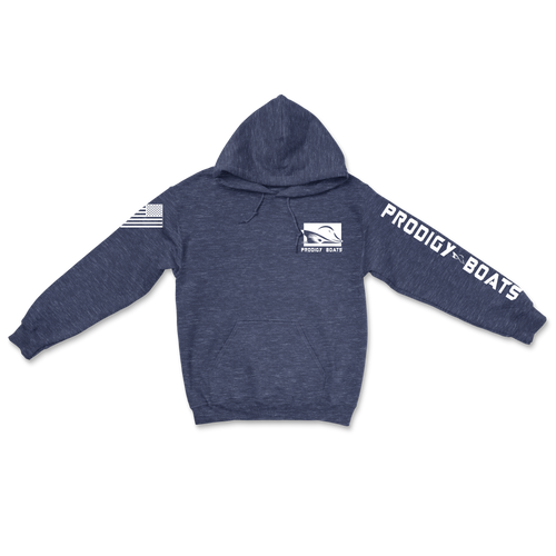Cotton Heavy Blend Hoodie - Heather Navy/White