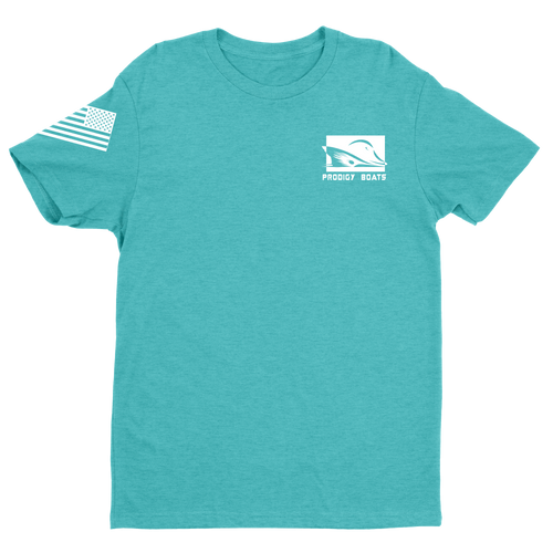 T-Shirt – Heather Teal/White