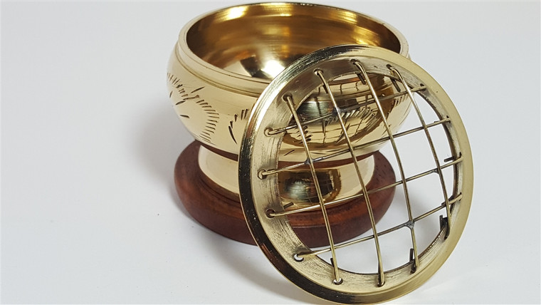 Brass Charcoal Burner with Brass Screen 2.5 Inches Diameter