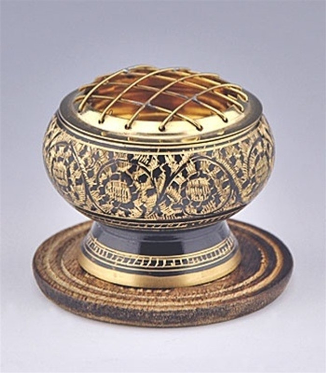 Carved Charcoal Burner with Brass Screen 2.5 inches