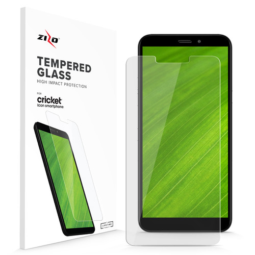 ZIZO CLEAR GLASS Cricket Icon Smartphone Tempered Glass Screen Protector | Anti Scratch 9H Hardness (Clear) LSHD-CKICON-CL