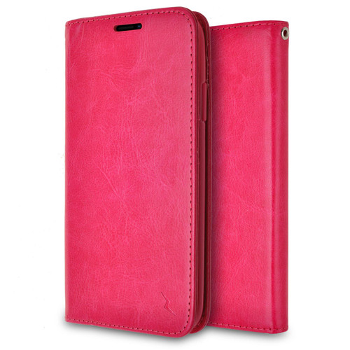 ZIZO WALLET FOLIO Cricket Icon Smartphone Case | Magnetic Flap Closure with Credit Card and ID Holder (Pink Leather) WTPH-CKICON-PKLT