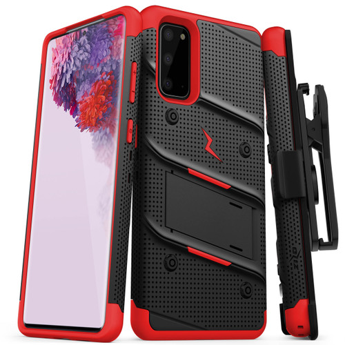 ZIZO BOLT for Galaxy S20 Case with Kickstand Holster Lanyard - Black & Red BOLT-SAMGS1162-BKRD