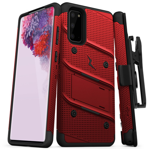 ZIZO BOLT for Galaxy S20 Case with Kickstand Holster Lanyard - Red BOLT-SAMGS1162-RDBK