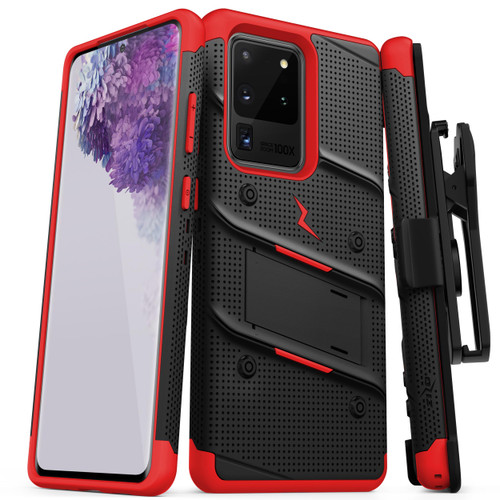 ZIZO BOLT for Galaxy S20 Ultra Case with Kickstand Holster Lanyard - Black & Red BOLT-SAMGS1169-BKRD