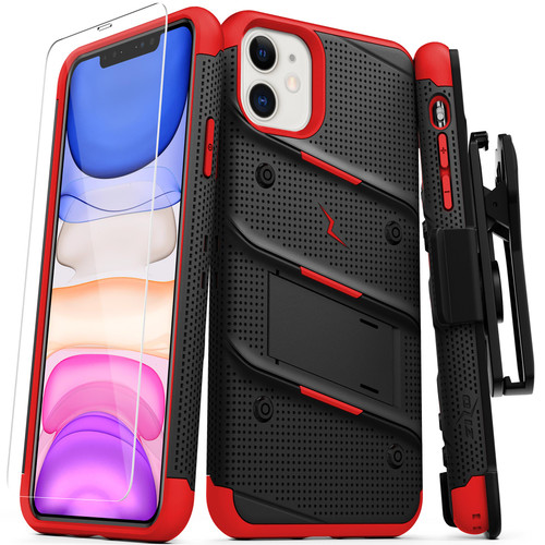 ZIZO BOLT Series iPhone 11 Case - Heavy-duty Military-grade Drop ProtectION w/ Kickstand Included Belt Clip Holster Tempered Glass Lanyard - Black / Red BOLT-IPH61-BKRD