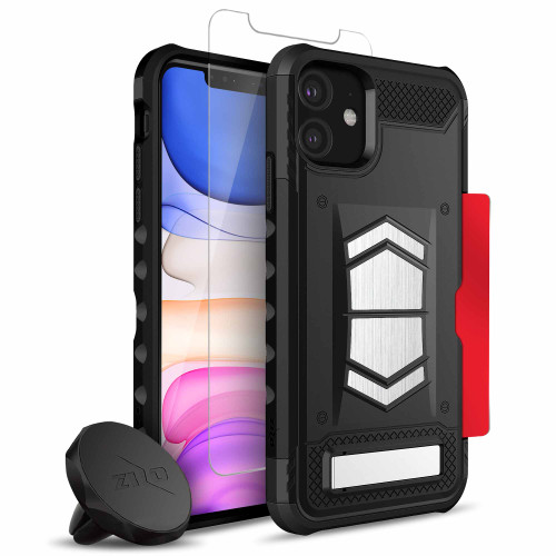 ZIZO ELECTRO Series iPhone 11 Case - Military-grade ProtectION w/ Kickstand Hidden Card Slot Tempered Glass Magnetic Air Vent Holder - Black ELC-IPH61-BKBK