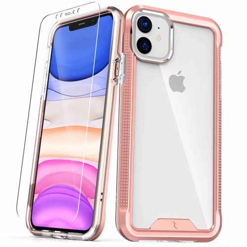 ZIZO ION Series iPhone 11 Case - Military Grade Drop Tested with Tempered Glass Screen Protector - Rose Gold / Clear IONC-IPH61-RGDCL